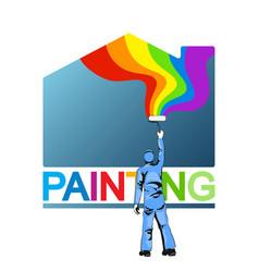 Painter paints house vector