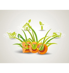 Ecology icon set Letters ECO with green grass vector image