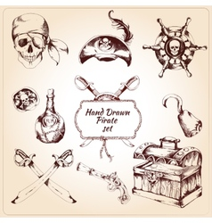 Pirates decorative icons set vector