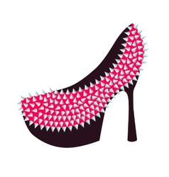 Womens high-heeled pink shoes decorated with studs vector