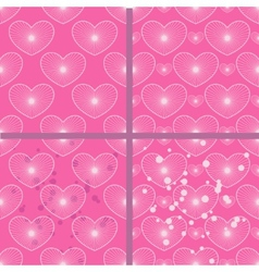 Set of patterns with hearts vector