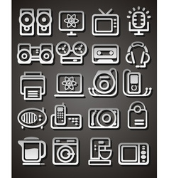 Media and household appliances icons vector