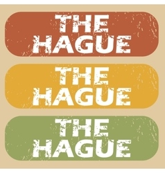 Vintage the hague stamp set vector