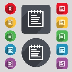 Notepad icon sign a set of 12 colored buttons and vector