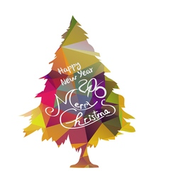 Happy new year and merry christmas with tree vector