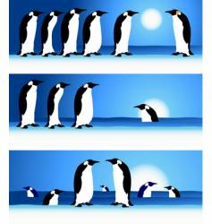 Penguins winter in arctic vector
