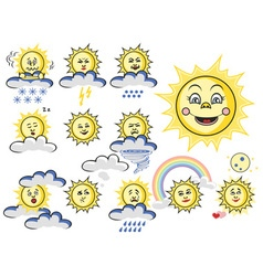 Emotions sun with cloud and weather vector