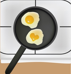 Fried eggs in black pan vector
