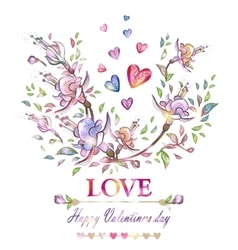 Happy valentines day bright cardromantic floral vector