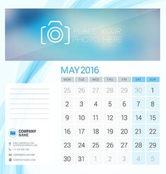 Desk calendar for 2016 year may stationery design vector