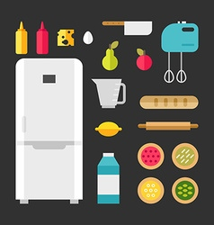 Set of icons and in flat style kitchen appliances vector
