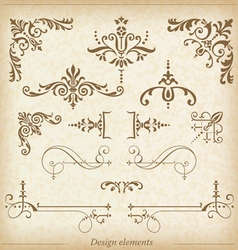Ornamental dividers and ornaments vector