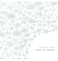 Abstract gray bush leaves textile frame corner vector