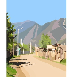 background village street in the mountains vector image