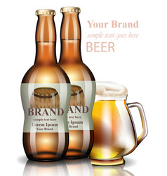 beer bottles realistic product packaging vector image