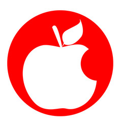 bite apple sign white icon in red circle vector image vector image