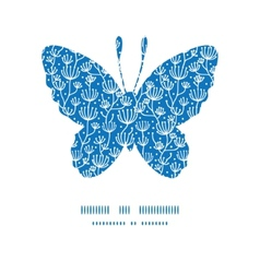 Blue white lineart plants butterfly silhouette vector
