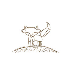Brown contour graphic of fox in hill vector