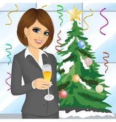 Businesswoman toasting with a glass of champagne vector