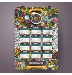 Cartoon doodles beauty 2017 year calendar template vector
