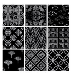 chinese pattern set with traditional designs vector image