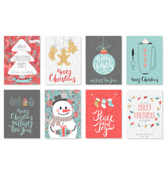 Christmas hand drawn card set vector image vector image