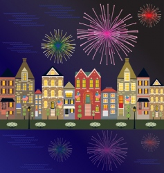 Fireworks cityscape vector