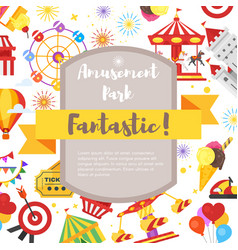 Flyer with amusement park fun icons vector