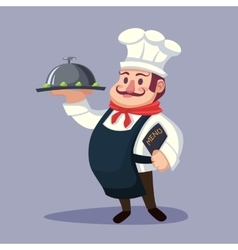 Funny cute fat cartoon Chief cook character with vector image