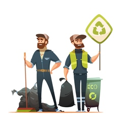 Garbage Sorting Collecting Recycling Cartoon vector image