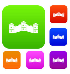 Great wall of china set color collection vector