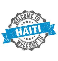 Haiti round ribbon seal vector