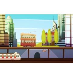 Hong Kong Downtown Front View vector image