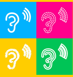 Human ear sign four styles of icon on four color vector