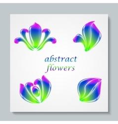 Luxury image logo rainbow abstract flowers set vector