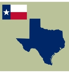 map of the US state of Texas with flag vector image vector image