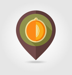 melon flat pin map icon fruit vector image vector image
