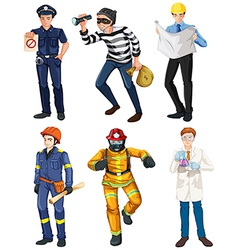 Men with different works vector image