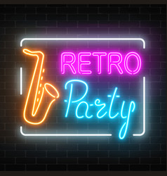 Neon signboard of retro party in music bar vector