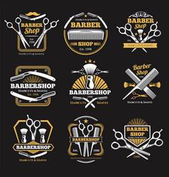 Old barbershop emblems and labels vintage vector