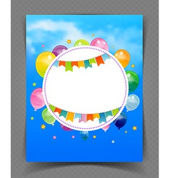 Party banner with flags and ballons vector image vector image