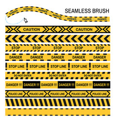 police yellow tape seamless brush design vector image