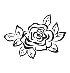 Rose flower black pictogram vector