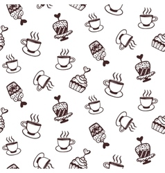 Seamless pattern with cakes and coffee cups vector