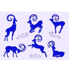 Set of blue mountain goats vector