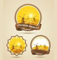 Set of windmills labels vector image