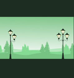 Silhouette landscape with street lamp on garden vector