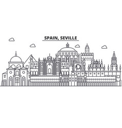 Spain seville architecture line skyline vector