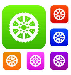 Sprocket from bike set collection vector