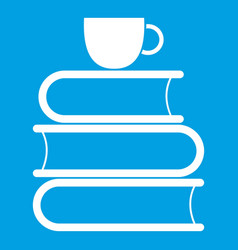 Stack of books and white cup icon white vector
